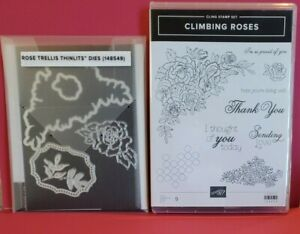 "Stampin'Up Stamp Set Rubber Mount ""Climbing Roses""  #148658 ThinLits #148549"
