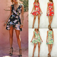 Sexy Women's Deep V Neck Floral Printed Bodycon Evening Party Short Mini Dress
