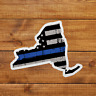 New York  Thin Blue Stripe Sticker Decal Police American Flag Tattered USA Line