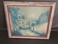 Framed Rue De Montmartre By Maurice Utrillo On Canvas