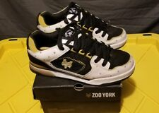 Nice! ZOO YORK Men's Casual Skate Shoes White/Black / GOLD Leather SIZE 9 WBGB