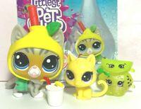 Littlest Pet Shop STRIPED CAT LPS #4-159 Thirsty LEMON Costume MINI BABY Lot OOP