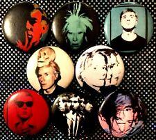 "Andy Warhol self portraits 8 NEW 1"" buttons pins badges pop art selfie"