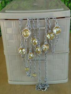 "Judith Ripka JR U Sterling /18K Yellow Gold Canary Crystal Station Necklace 34""L"