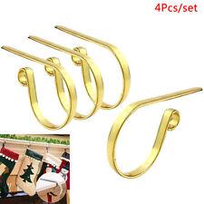4Pcs Christmas Stocking Hook Kitchen Fireplace Socking Holder Metal Hanger G EW