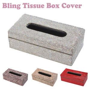 Full Shiny Bling Bling Rhinestone Rectangular Tissue Box Cover Case for Car Home