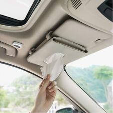 Auto Accessories Holder Paper Napkin Clip Leather Car Sun Visor Tissue Box Beige