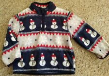 Gymboree Navy and Red Snowman Print Fleece Pullover Jacket Size 12-24 months