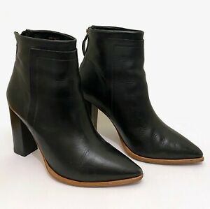 Loeffler Randall Mercer Pointed Toe Black Leather Boots, Size US 8.5