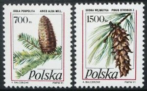 POLAND 1991 Trees: Cones Conifers (1st series). Set of 2. MNH. SG3338/3339.