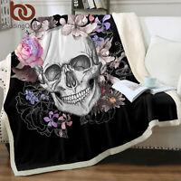Skull Floral Love Super Soft Warm Plush Fleece Blanket Throw Rug Sofa Bedding