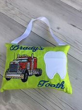 Personalised Truck Tooth Fairy Pillow Embroidered Lost Tooth Novelty Gift