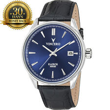 Original Vincero Kairos - Blue 12 Hour Dial Leather Strap Wrist Men's Watch Gift