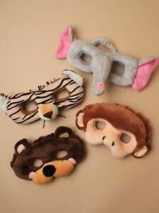 Wild Animal Plush Face Mask; Monkey, Elephant, Tiger, Bear; Party; Book Day,