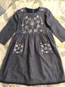 Chelsea & Violet Dress - Girls 12 14 EUC! Blue Denim Embroidered Dress