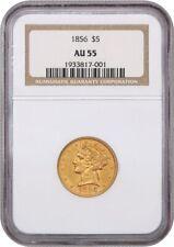 1856 $5 NGC AU55 - Liberty Half Eagle - Gold Coin