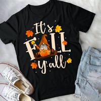 NEW Three Fall Garden Gnomes Autumn Leaves Thanksgiving T-Shirts S-3XL