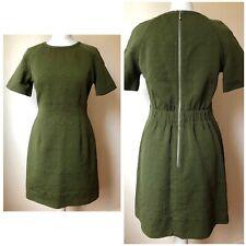 Whistles Womens Green Khaki A Line Dress Back Long Zip Size 10 Vgc