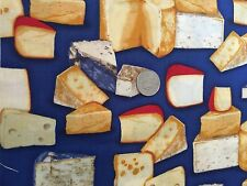 Fancy Cheese Brie Blue Cheese Food Novelty Quilt Fabric Fat Quarter FQ FQs