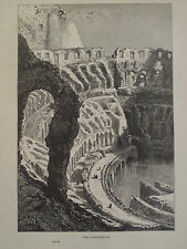Roman Colosseum Rome Italy Antique Engraving 1878