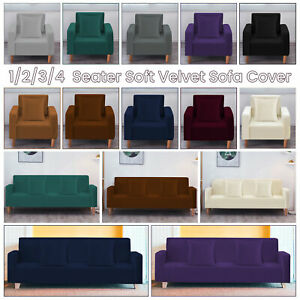 1/2/3/4 Seater Velvet Sofa Seat Cushion Covers Stretch Couch Protector Slipcover