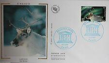ENVELOPPE PREMIER JOUR - 9 x 16,5 cm - ANNEE 2003 - UNESCO LAPONIE LE RENNE