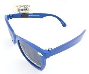 SUNBELT KIDS SUNGLASSES 047K RETRO SPECS BLUE FRAME GRAY LENS UVA UVB PROTECTION