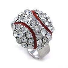 American Baseball Sports Ring High Polish Red Enamel Adjustable Band Charm l1