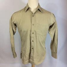 Vintage 40s 50s Sanforized Khaki Mechanics Shop Work Shirt Gussets Military M