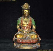 "8"" Tibet Buddhism bronze Painted Tara Kwan-yin Guanyin Bodhisattva Buddha statue"