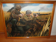 "FRAMED ART PAINT ""WW2 GERMAN WAFFEN IN ACTION EASTERN FRONT 1944. 53 X 41"