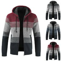 Mens Winter Thick  Hooded Zipper Cardigans Long Sleeve Fleece Knit Sweater Coat