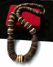 Coconut shell rondelles graduated bead wood inlay great quality Heishi NECKLACE