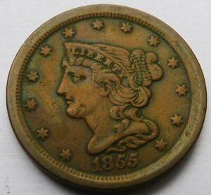1855 Braided Hair Half Cent 1/2C - VF