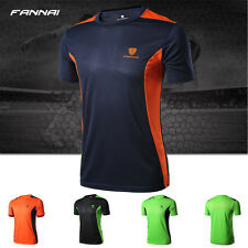 Mens Compression Sports Breathable T-Shirts Wear Athletic Short Sleeves Running