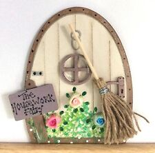 The Housework Fairy Handpainted Fairy Door With Broom Gift Skirting Board Decor