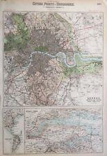 1872 Antique map: London Plan. River Thames & Medway, Portland