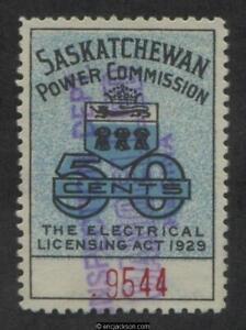 Saskatchewan Electrical Stamp, SE10 used, VF