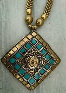 Beautiful brass necklace with turquoise locket pendant necklace jewelry india