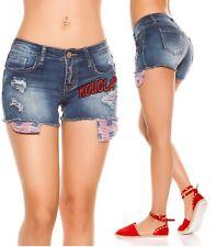 Pantaloncini jeans donna shorts skinny patch strappi hot pant nuovi