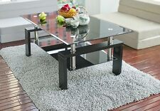 Merax Rectangular Glass Coffee Table Shelf Metal Living Room Home Furniture
