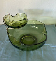Vintage Anchor Hocking Avocado Green Glass Chip and Dip Set Bowl 9.25""