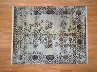 """8'x10'1"""" Silk With Oxidized Wool Modern HandKnotted Transitional Rug G40851"""