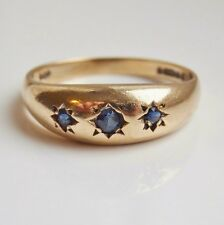 Vintage Victorian Style 9ct Gold Gypsy set Sapphire Ring c1974; UK Ring Size 'N'