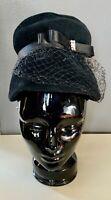 VTG 50'S-60'S *LOVELY!! BLACK WOOL RIBBON RHINESTONE FISHNET VEIL BANDED HAT