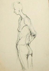 Vintage expressionist man portrait ink painting