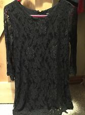 NWT Lucca Couture Urban Outfitters Black Lace Zip Back Shift Dress, Size S