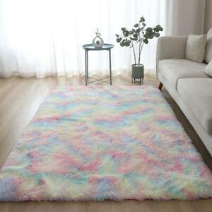 Fluffy Faux Fur Silk Plush Rug Non Slip Large Floor Carpet Rugs Mat Plush Soft