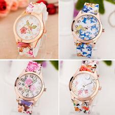 New Women Girls Watch Retro Silicone Printed Flower Causal Quartz Wrist Watches