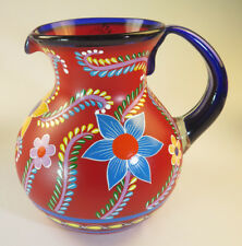 Mexican Glass Pitcher, hand blown, painted POP Flowers on bola shape